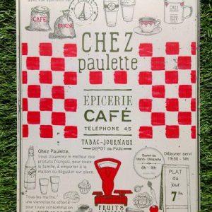 Plaque pub métal Chez Paulette Comptoir de Famille