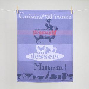 Torchon Déguster Atelier LZC Fromage ou dessert Jacquard Tissage Moutet