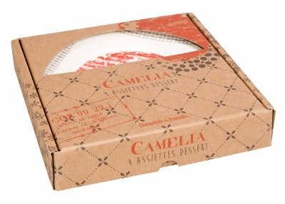 """Coffret de 4 assiettes à dessert """"Camélia"""" Comptoir de Famille"""