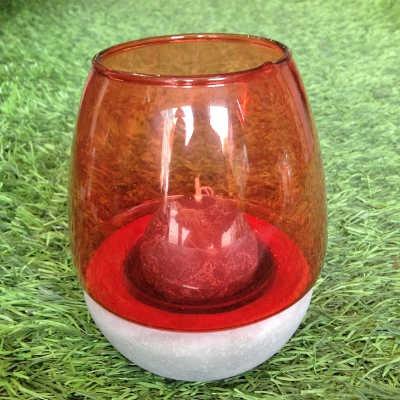 Photophore en verre rouge et ciment PM