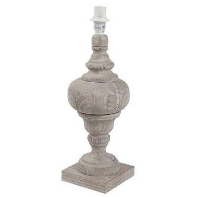 Pied de lampe rond gris feuille en bois