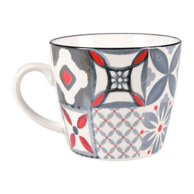 "Tasse en Porcelaine ""Carreau Rouge"" grand modèle"