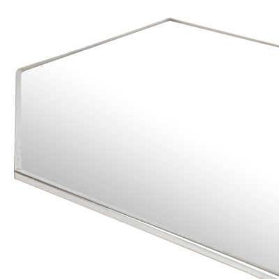 Miroir mural en forme de losange aspect argent patiné