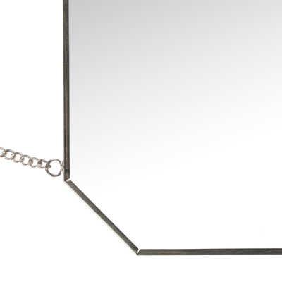 Miroir mural carré de forme octogonale aspect argent patiné