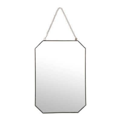 Miroir mural rectangulaire de forme octogonale aspect argent patiné
