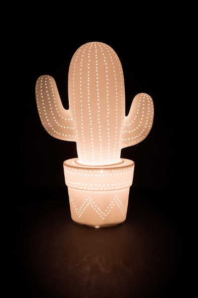 d co dinan lampe cactus en porcelaine blanche. Black Bedroom Furniture Sets. Home Design Ideas