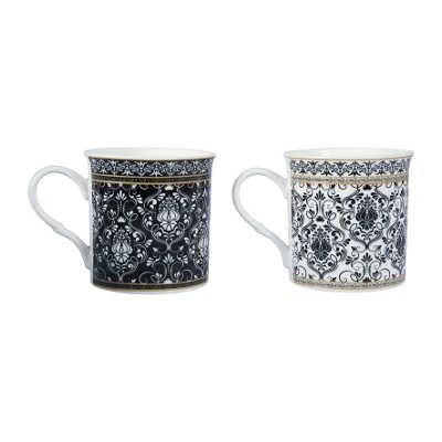 """Mugs décor """"Baroque"""" noires et blanches en porcelaine"""